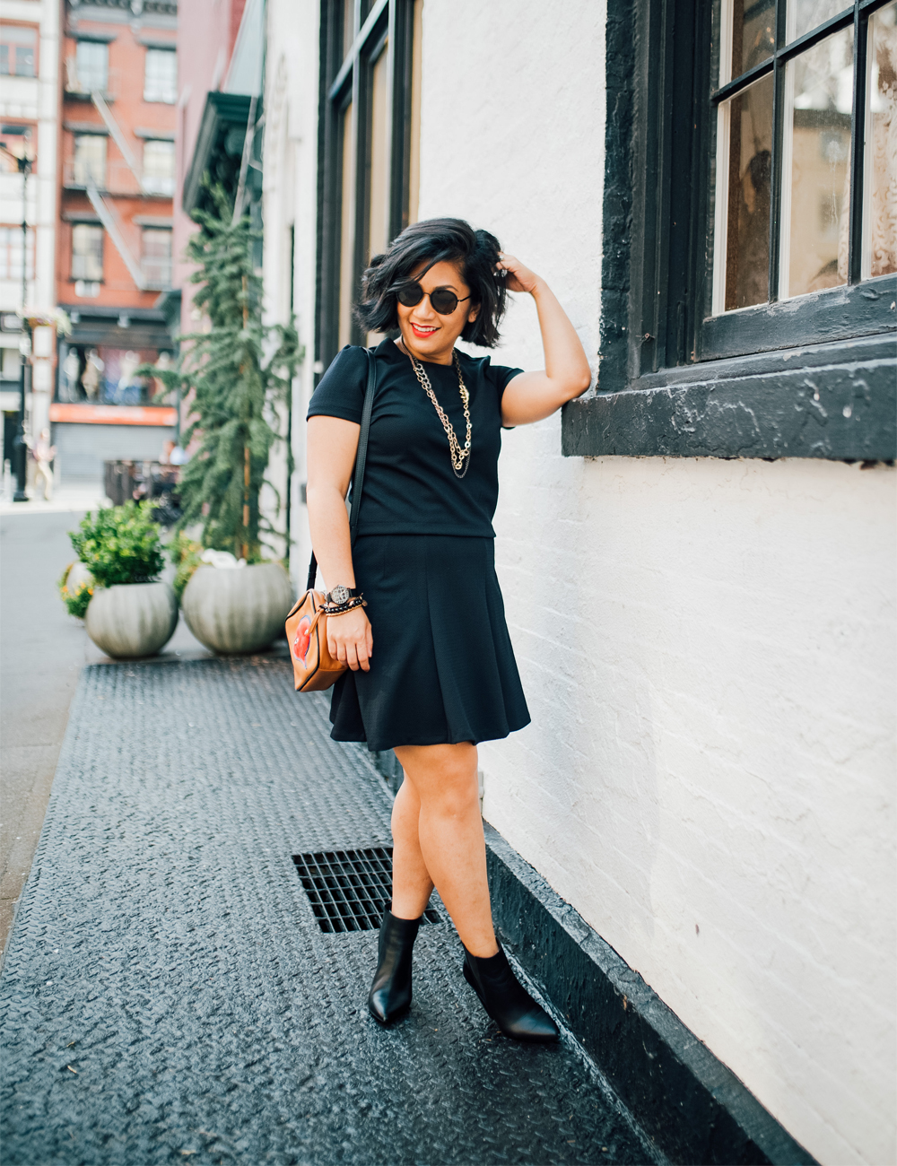 PARIS SUNDAY Women's Short Sleeve Textured Ponte Two-Piece Skirt Set
