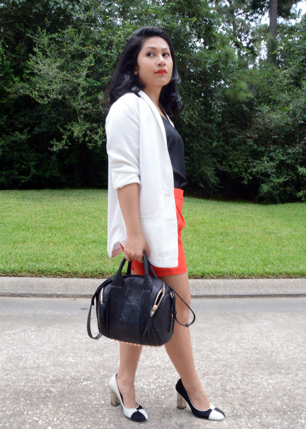 H&M Blazer and J.Crew Pleated Crepe Shorts