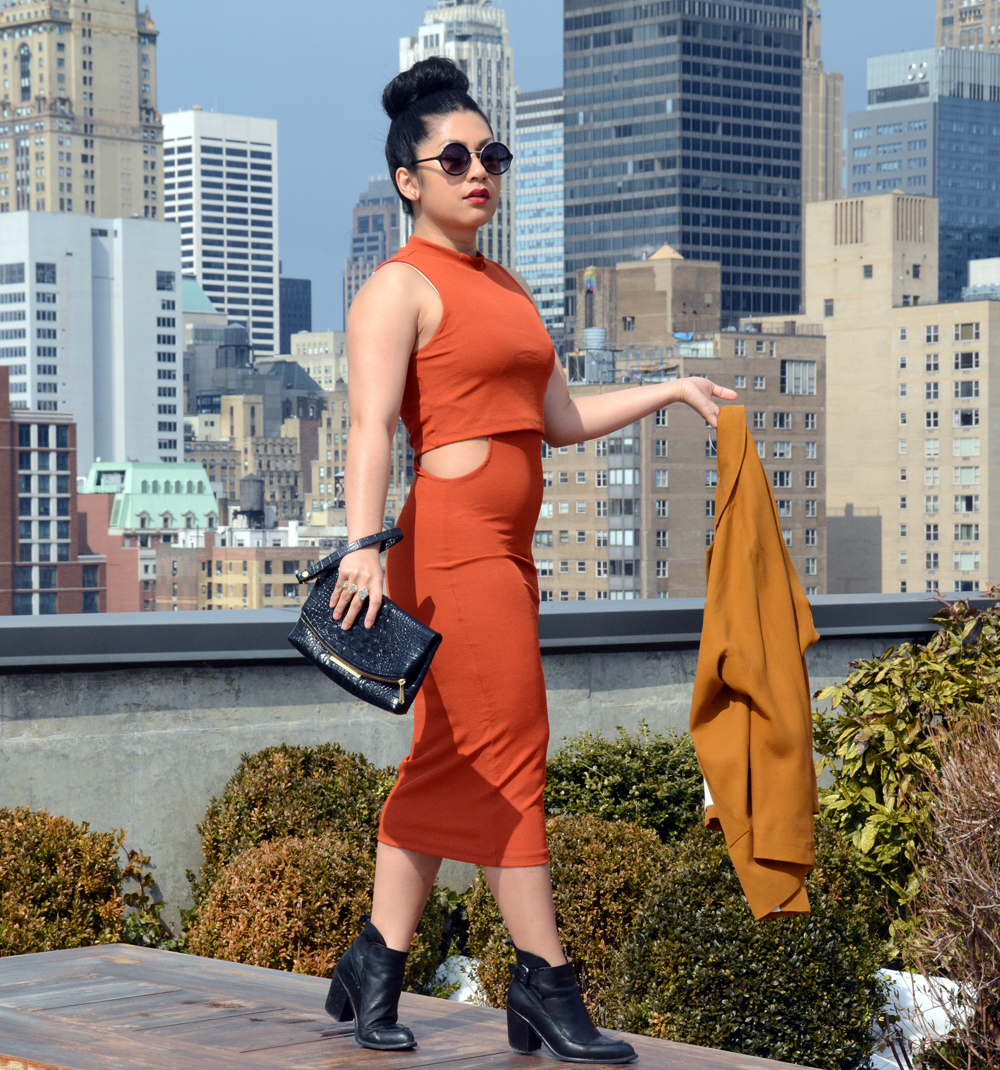 TopShop Cut-Out Midi Bodycon Dress