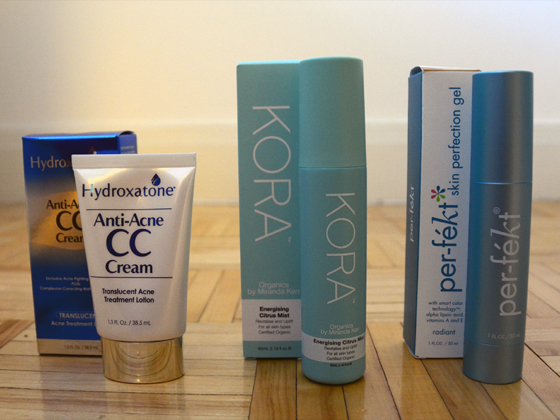 Hydroxatone Anti-Acne CC Cream, KORA Organics Energizing Citrus Mist, Per-Fekt Beauty Skin Perfection Gel