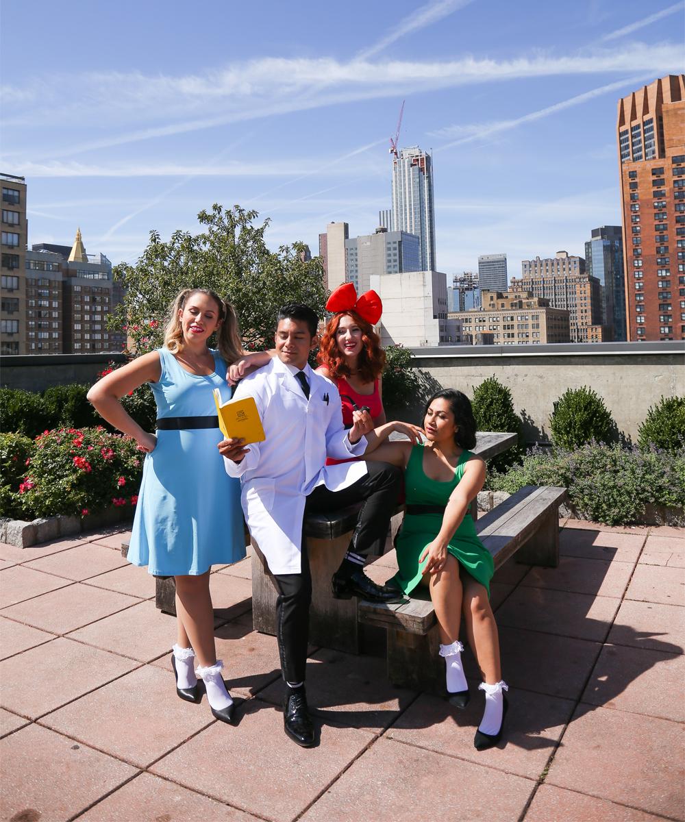 Fabulous Pop-Culture Halloween Costume Ideas, featuring Professor Utonium and the Powerpuff Girls