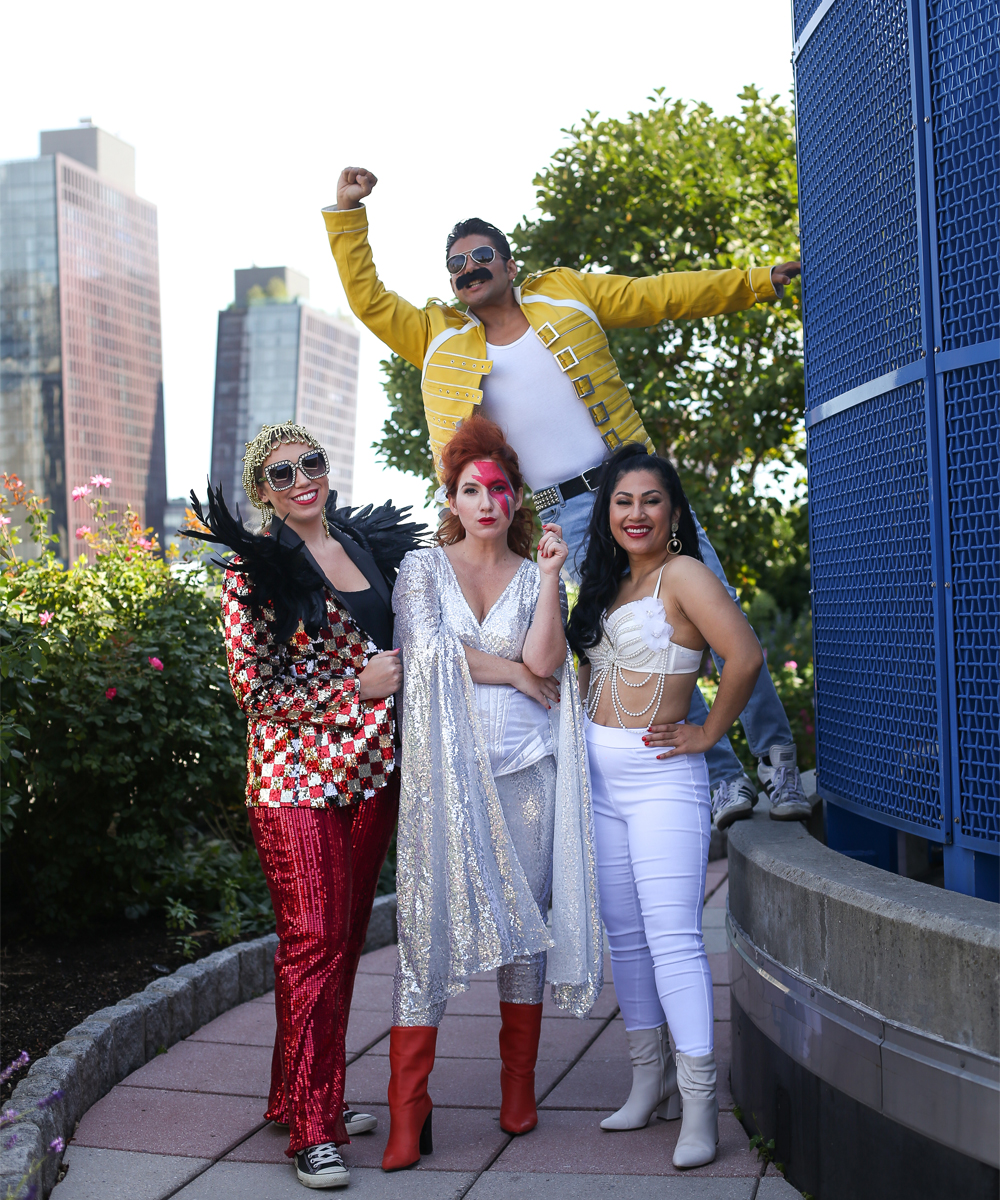 Fabulous Pop-Culture Halloween Costume Ideas, featuring pop stars David Bowie, Freddie Mercury, Selena and Elton John