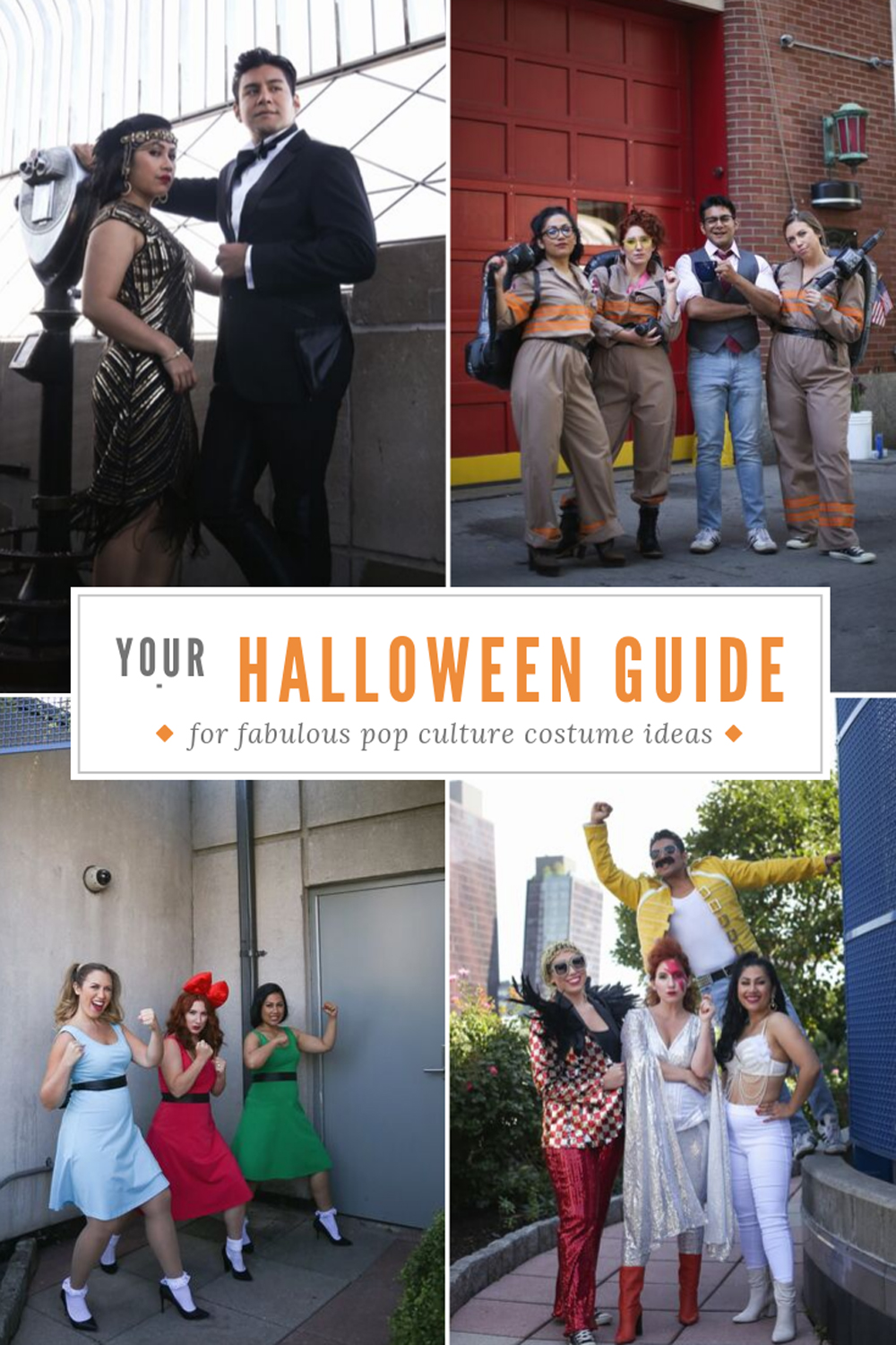Fabulous Pop-Culture Halloween Costume Ideas, featuring roaring 20s, ghostbusters, powerpuff girls, and pop stars David Bowie, Freddie Mercury, Selena and Elton John