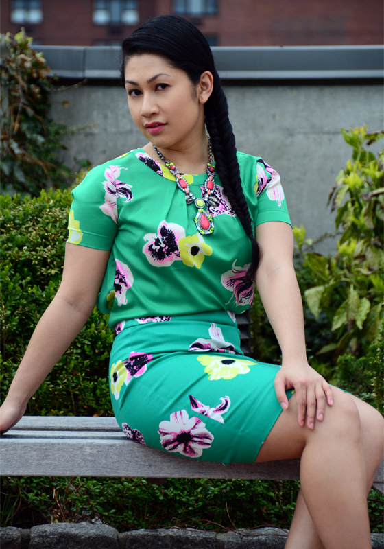 JCrew cutaway top & pencil skirt