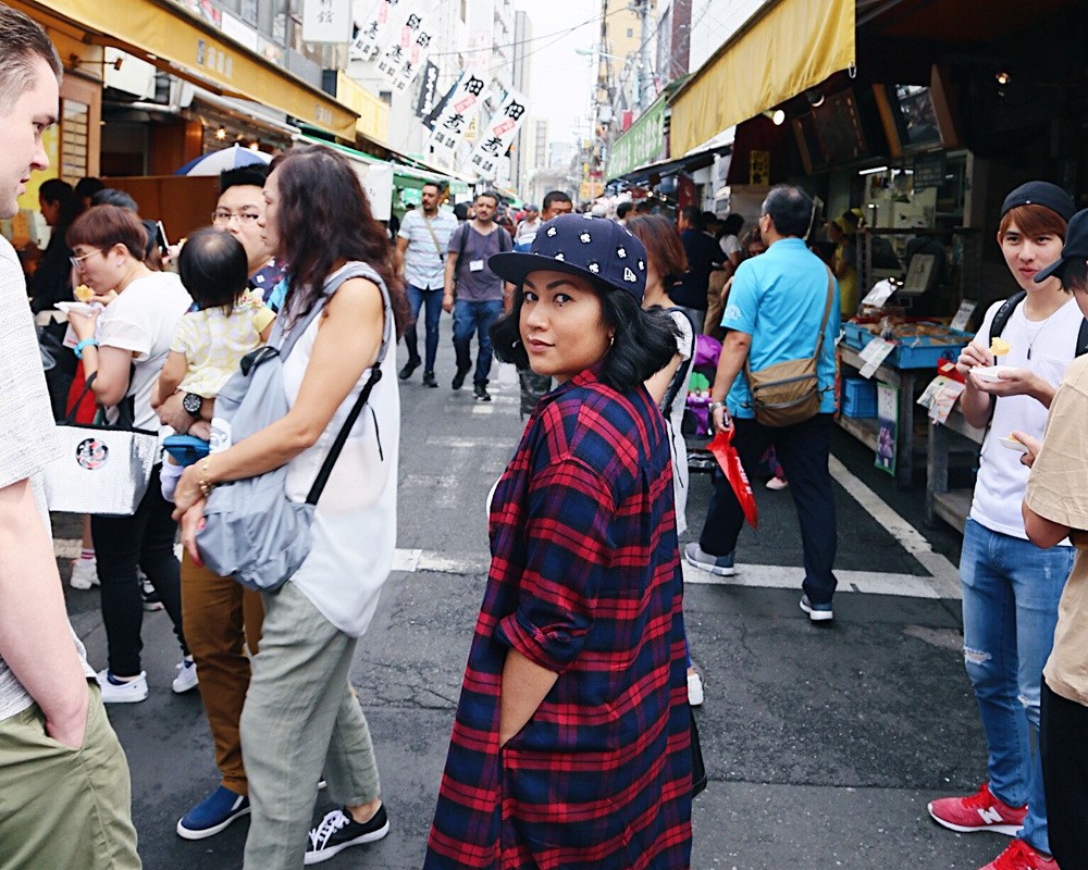 Outer market of Tsukiji Fish Market
