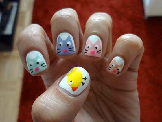 Nail Design Tutorial Four Kitties And A Chickie Mimi Chichi Blog