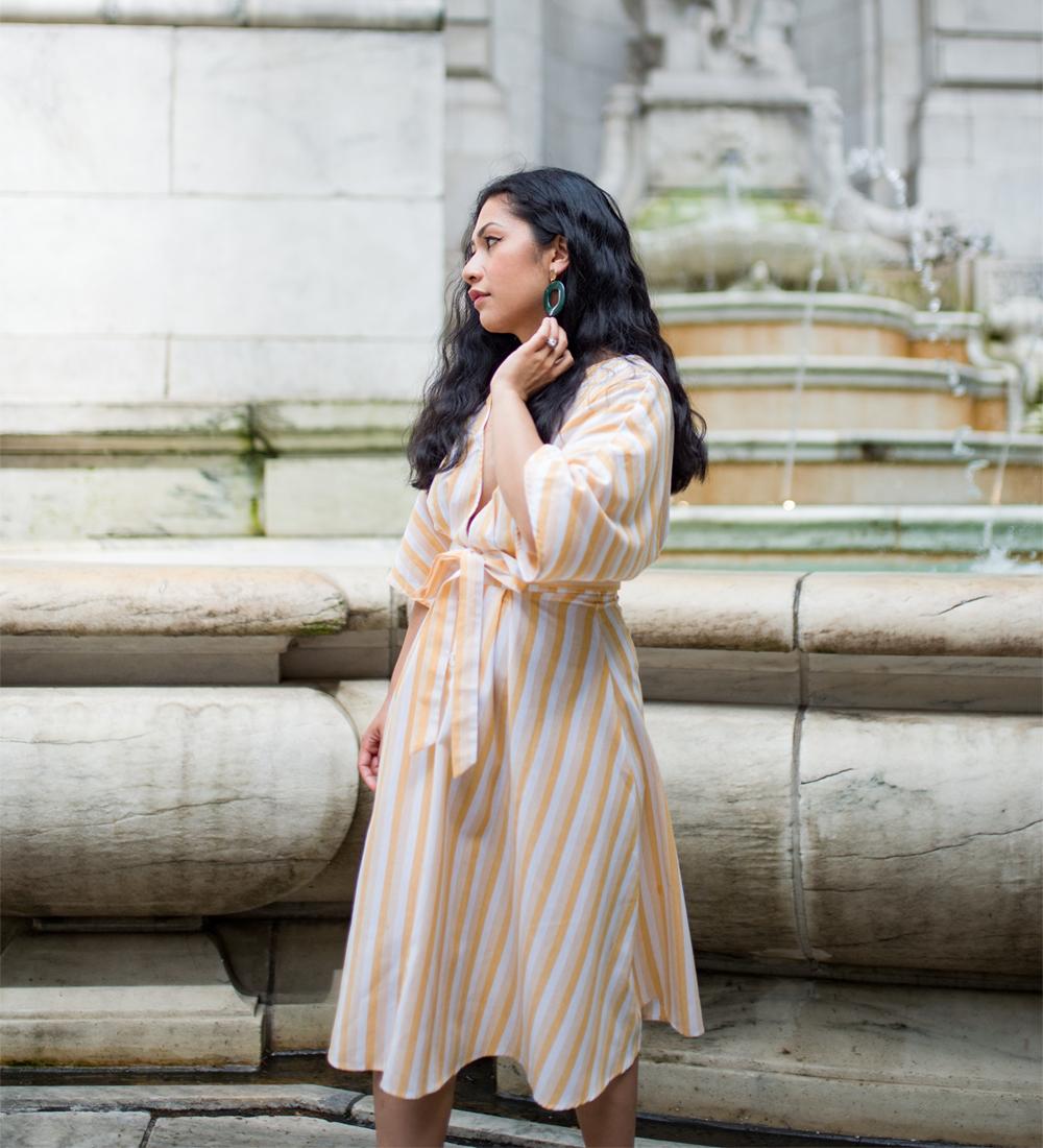 Shein Deep V-neck Button Front Striped Belted Dress