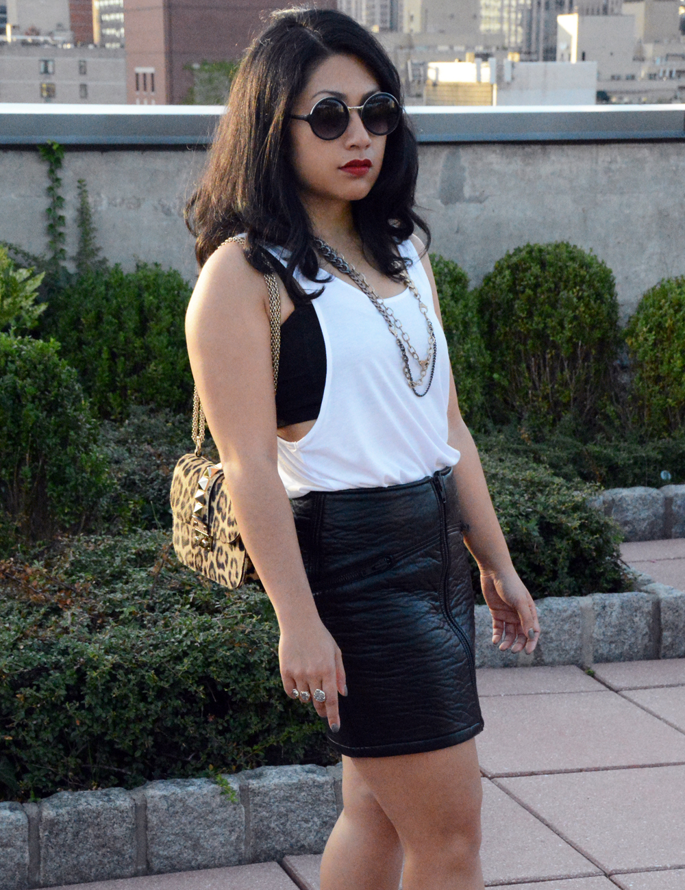 H&M imitation leather skirt and sleeveless top