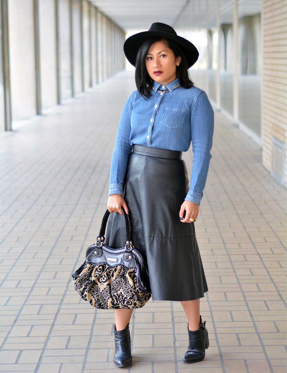 Madewell Chambray Shirt H&M Skirt