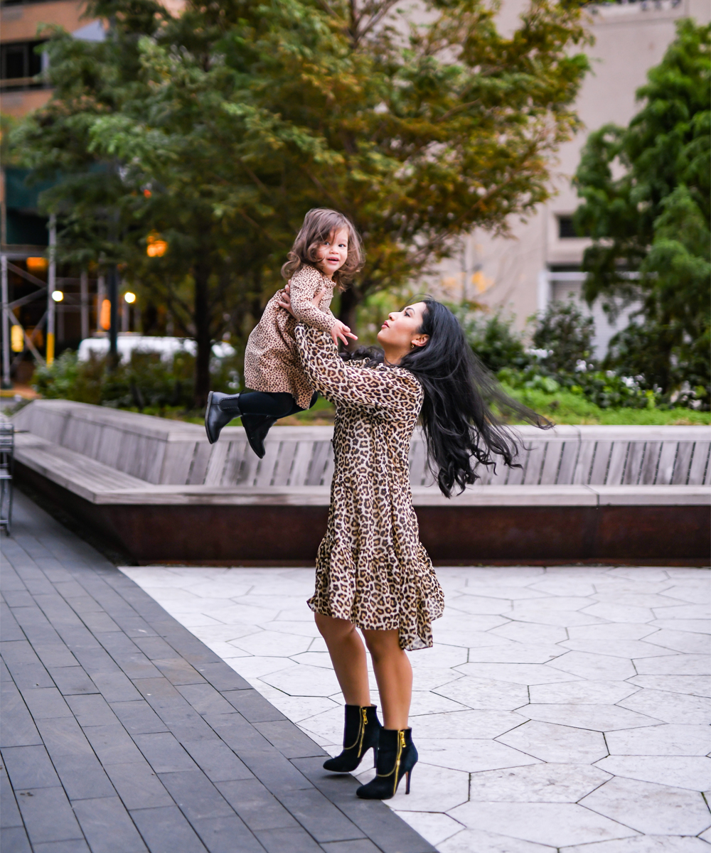 leopard print is a great idea for a mommy and me matching outfit theme