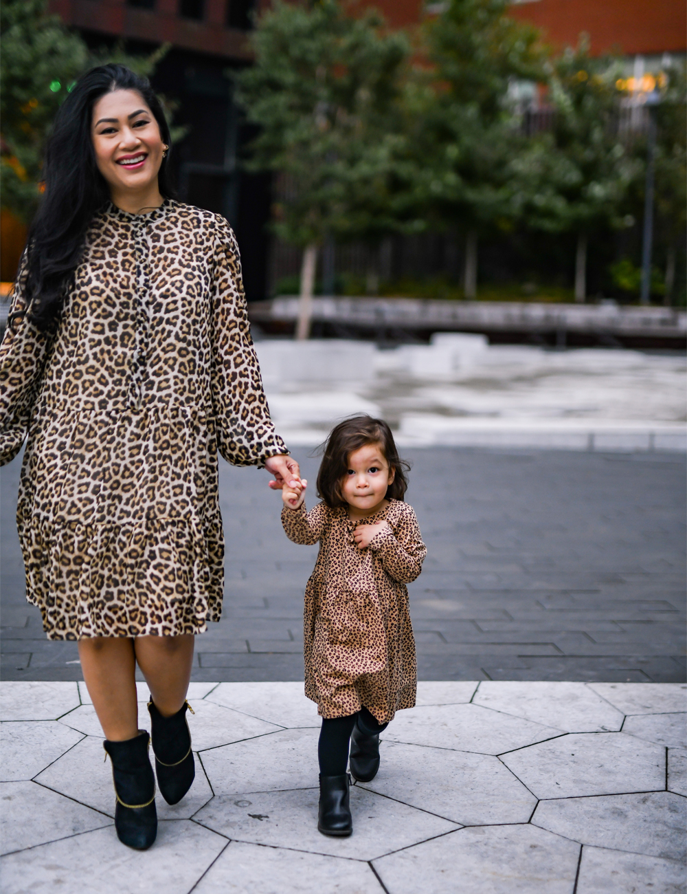 leopard print makes for a great mommy and me matching outfit theme