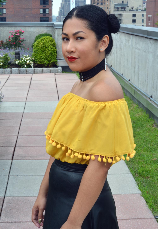 Romwe Yellow Pom Pom Trim Ruffle Off The Shoulder Top