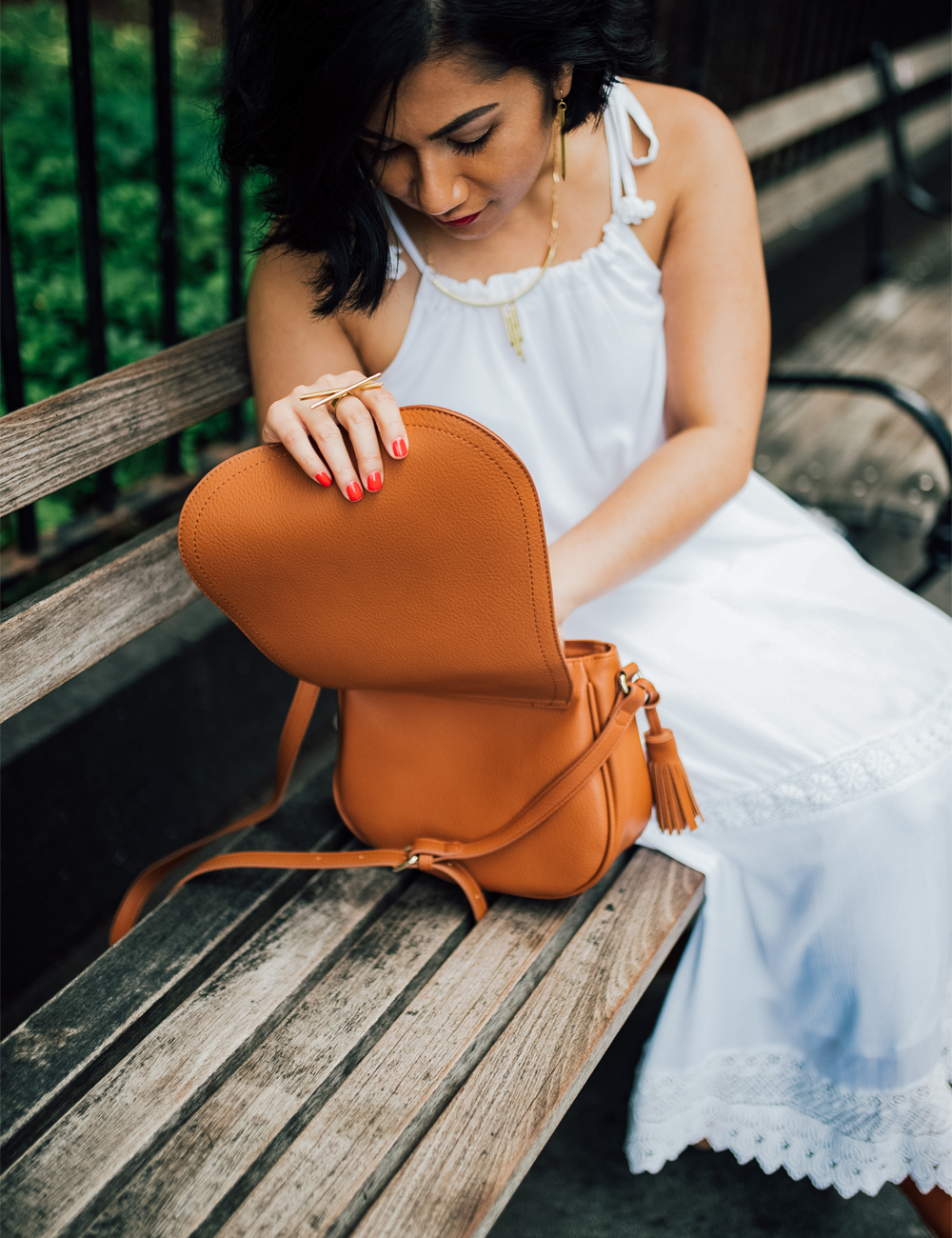 Old Navy tassel saddle bag