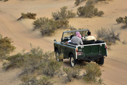Super cool vintage land rover that you will ride as part of the Platinum Heritage luxury desert safari