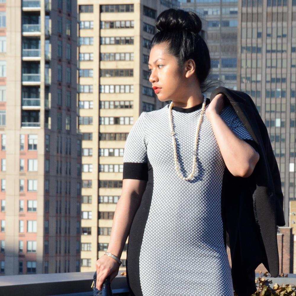 TopShop Geometric Panel Bodycon Dress