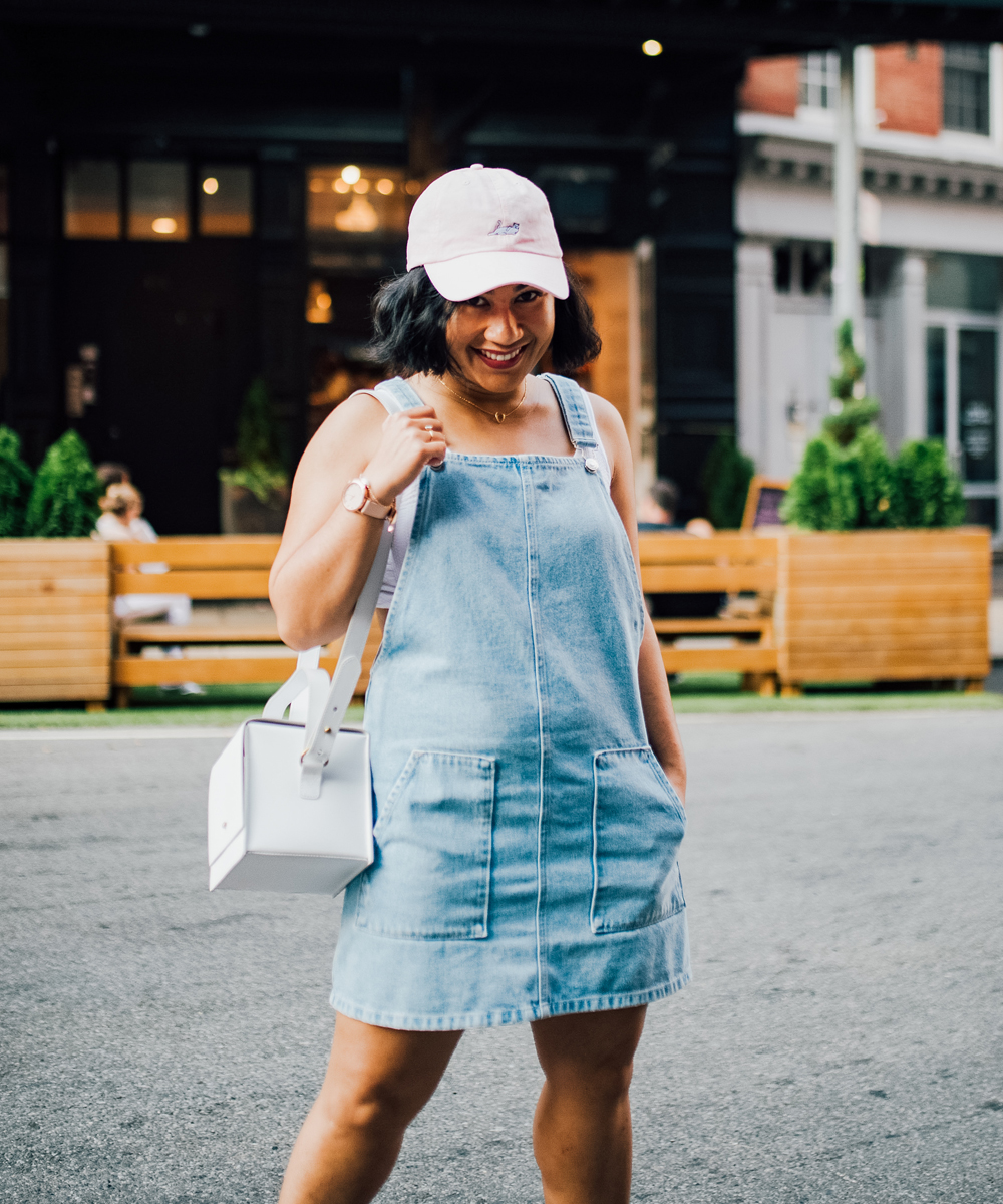 Topshop MOTO Light Blue Pinafore Dress