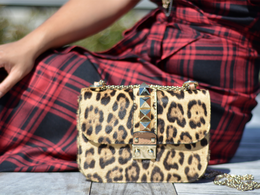 Valentino Rockstud Lock mini leopard print calfhair chain bag