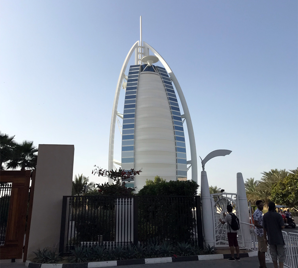 The lamest view of Burj al-Arab is from the vantage point of the entrance
