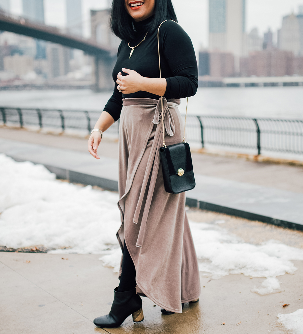 Urban Outfitters UO Velvet Wrap Tulip Maxi Skirt