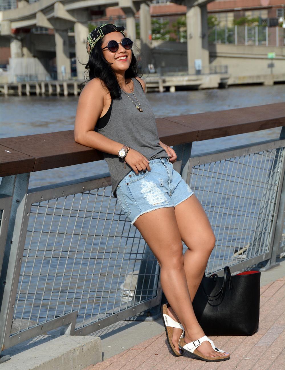 Brandi Melville Distressed Denim Shorts